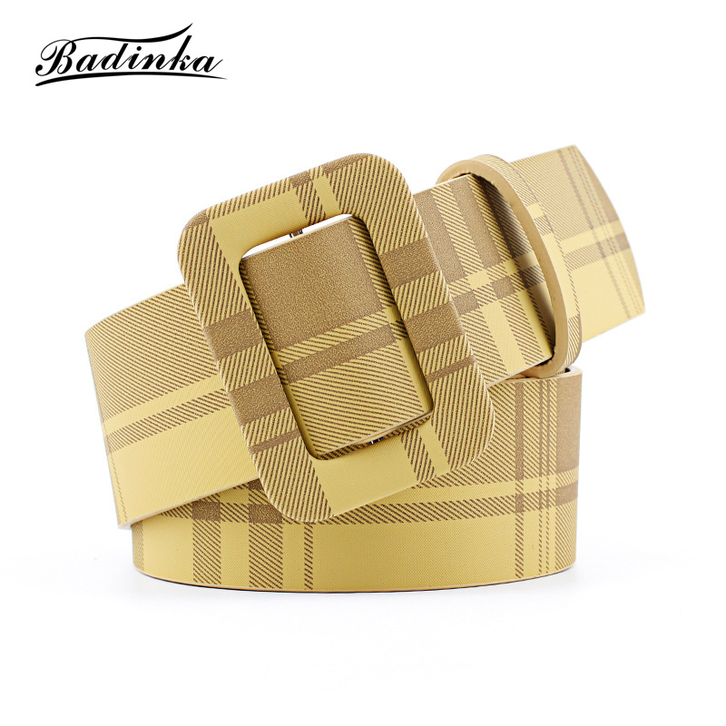 2019 New Designer Ladies Wide White Yellow White Black Pink Red Leather   Belt   Female Cute Waist   Belts   for Women Dress Coats Kemer