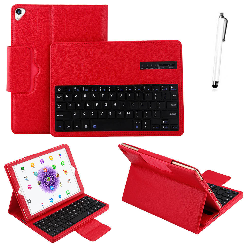 High quality 2 in 1 Removable wireless Bluetooth Keyboard + PU Leather Litchi pattern Case For Apple iPad Pro 12.9 2017 Tab Case for apple ipad 5 air removable pu leather case stand cover wireless bluetooth keyboard usb cable for ipad 6 air2 pro 9 7