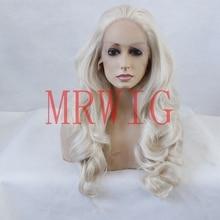 MRWIG вільна частина довга хвиляста синтетична передня парика # 0809 блондинка реальне волосся 26 дюймів 350г безкоштовна частина для жінки може нагріти прозорі мереживо