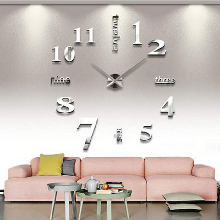 modern DIY large wall clock 3D mirror surface sticker home office decor high quality on hot selling new designed branded decor