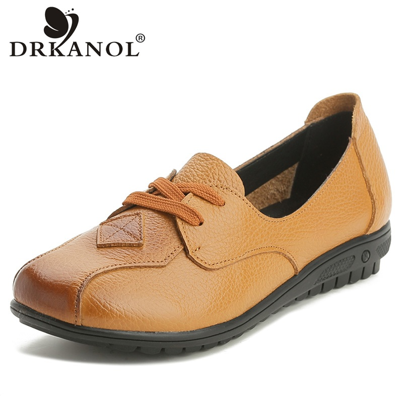 DRKANOL Spring Summer Women Shoes Round Toe Genuine Leather Flat Casual Shoes Woman Slip On Loafers Ladies Flats Big Size 35-43 brand fedimiro spring oxford shoes women patent leather pointed toe slip on flat loafers casual metal buckles ladies flats