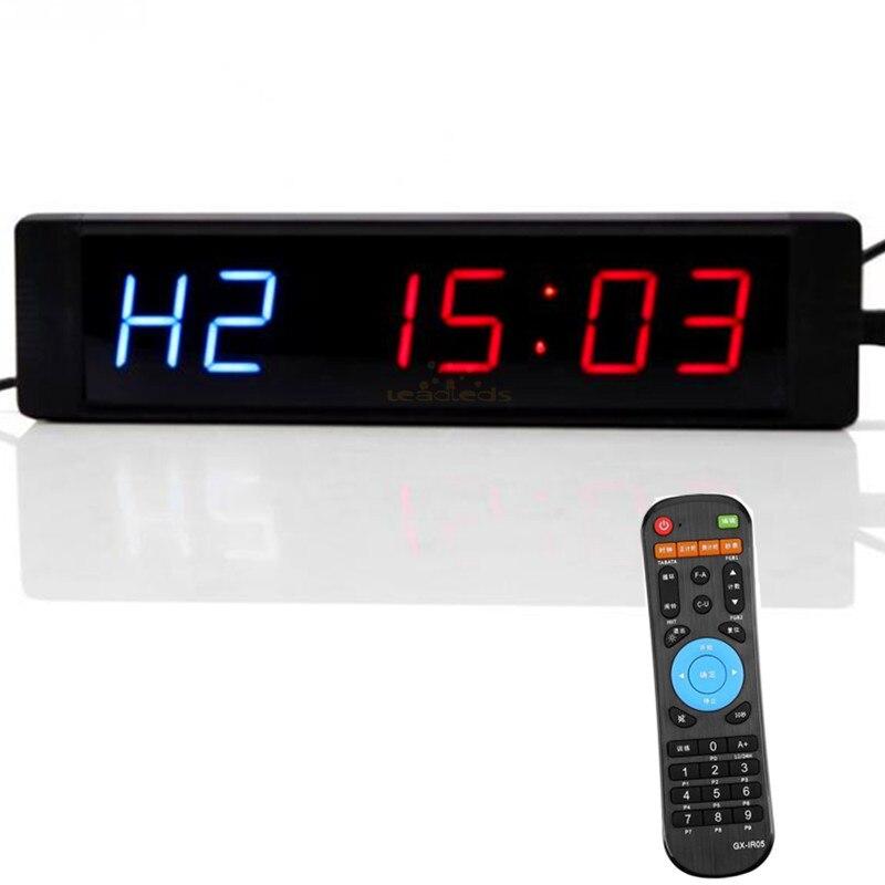 Relógio de Parede com Controle Exibição do Temporizador de Intervalo Intervalo de Treinamento para Gym 21 cm 6 Dígitos Programáveis Temporizador Remoto Levou de Treinamento para Gym Fitness Formação Mma Boxe