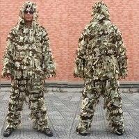 3D Army CAMO hoja yowie Ghillie francotirador de airsoft Tactical Caza traje/Caza tienda/Caza transpirable ciego Caza ropa
