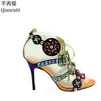 Qianruiti Rome Style Stiletto Heels Women Shoes Studded Rivets Lace Up Women Pumps Cut Outs High Heels Women Gladiotor Sandals