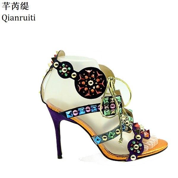 Estilo Qianruiti Con Remaches Roma De Encaje Zapatos Tachuelas Mujer Tacones Aguja dEQeCxBorW