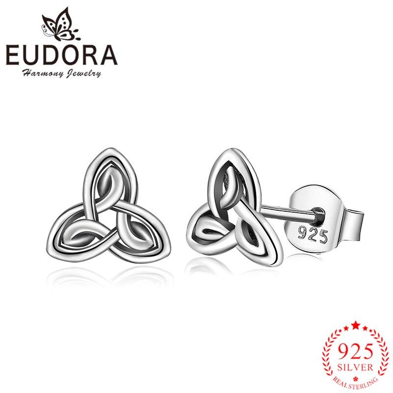 Eudora genuino plata esterlina 925 Celtics nudo Stud pendientes de moda joyería de plata para las mujeres niñas regalo romántico