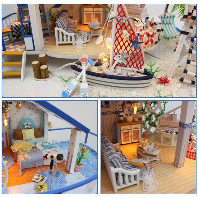 DIY LED Dollhouse Sea Miniature Villa With Furniture Wooden House Room Model Kit Gifts 3D Toys For Children Kids Doll House