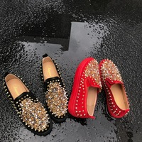 2019 Spring Summer Women Flats Platform Sneakers Crystal Rivers lady shoes slip on creepers moccasins Red Plus Size 42 43 44