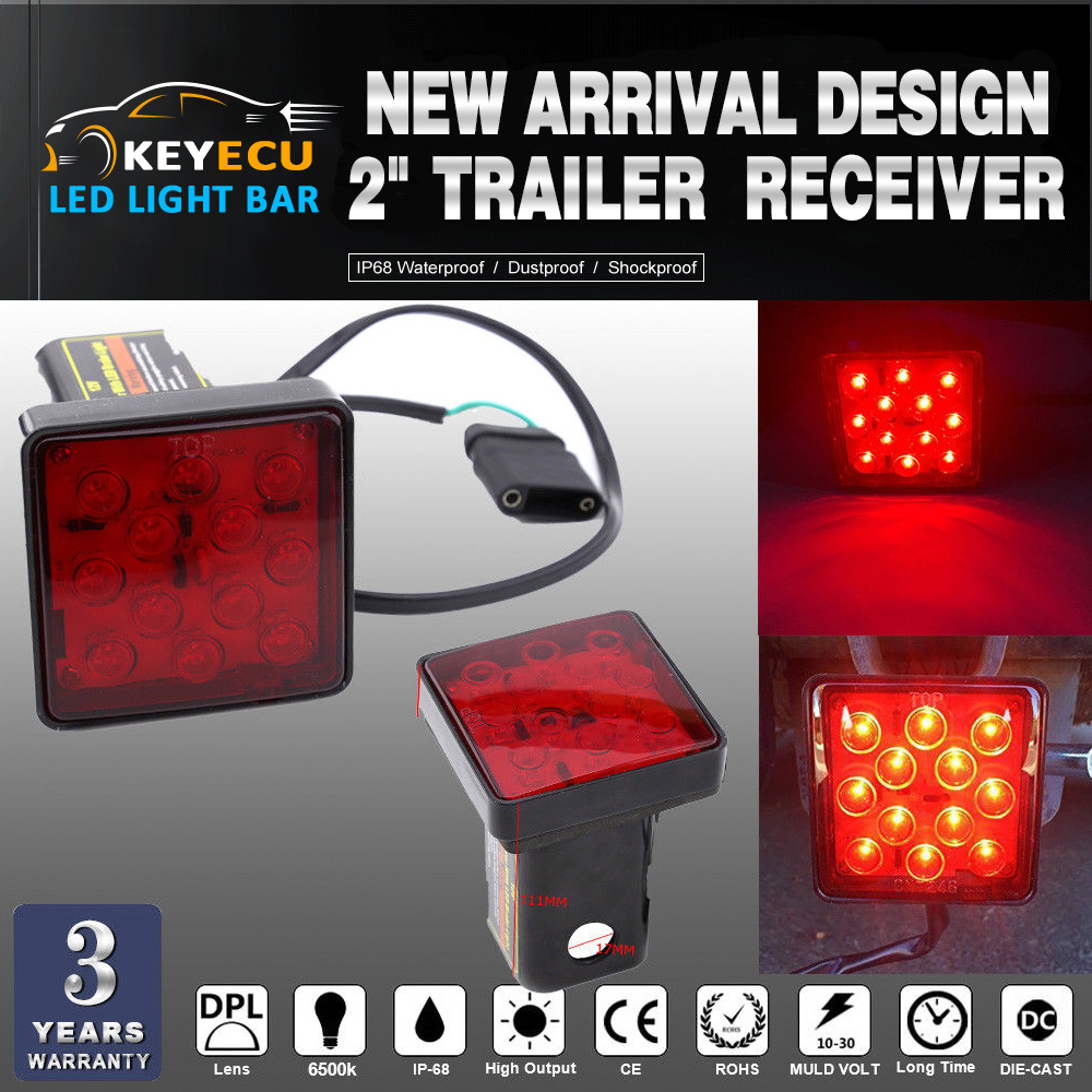 KEYECU 2 Trailer Hitch Receiver Cover with 12 LED Brake Leds Light Tube Cover w/ Pin add ...