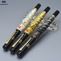 JINHAO 3 Colors Exquisite Dragon Sculpture Barrel Fountain Pen School Office Stationery Luxury Brand Writing Ink