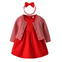 Baby Girl Dress with Cardigan & Headband Princess 1 year birthday dress Red Cute Infant Baby Clothes Gift for baby girl