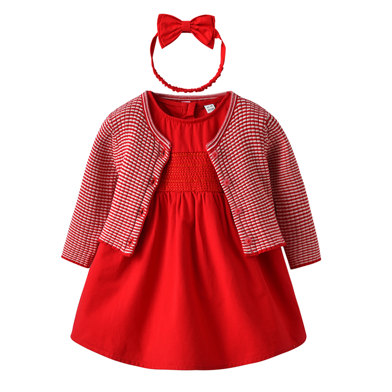 Baby Girl Dress with Cardigan & Headband Princess 1 year birthday dress Red Cute Infant Baby Clothes Gift for baby girl crown princess 1 year girl birthday dress headband infant lace tutu set toddler party outfits vestido cotton baby girl clothes
