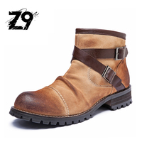 Top New Men Ankle Boots Fashion Casual Style Cowboy Leather Suede Flat Buckle Season Autumn Winter