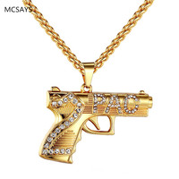 2017 New Arrival Hip Hop Jewelry Iced Out 2PAC Machine Gun Pistol Pendant Necklaces For Men