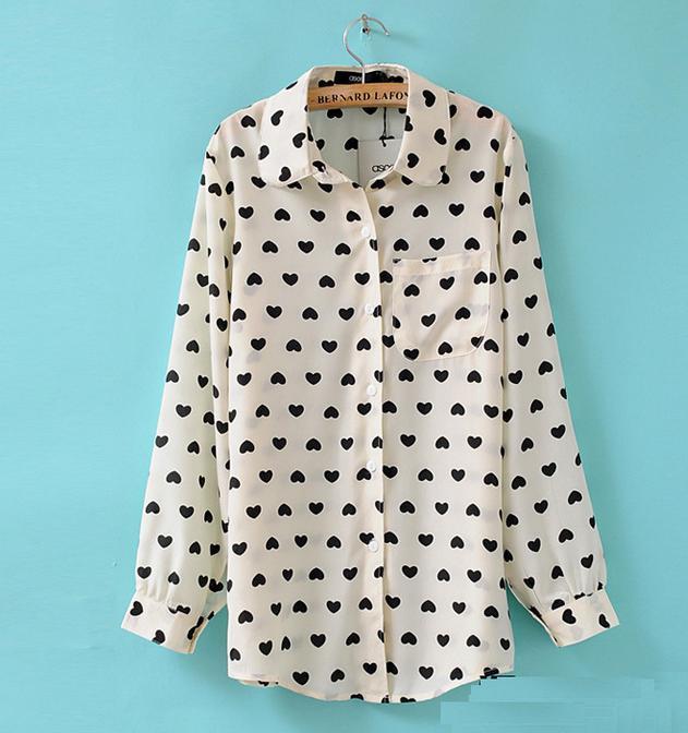 Новые повседневные винтажные женские длинные шифоновые Блузы с сердечками и длинными рукавами, рубашки с отложным воротником, женская одежда, рубашки 63018 - Цвет: white black heart