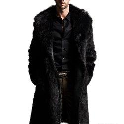 Модная мужская длинная куртка из искусственного меха, Мужская Осенняя зимняя теплая шерстяная куртка из искусственного меха, кожаная куртк...