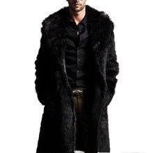 Fashion Men Faux Fur Long Section of the Coat Men Autumn Winter Warm Imitation Fur Wool Jac