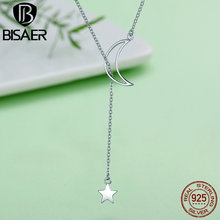 100 925 Sterling Silver Shimmering Stars Moon And Star Fairy Tales Necklaces amp Pendants Sterling Silver Jewelry ECN108 cheap BISAER Pendant Necklaces Women GDTC Zircon 925 Sterling CN(Origin) Party None Link Chain ---- TRENDY XXCM*XXCM 47CM Adjustable