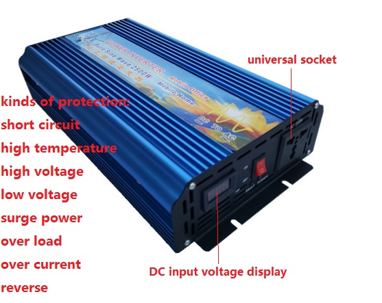 Peak power 5000w inverter rated power 2500W DC12V/24V TO AC110V/220V 50HZ 60hz pure sine wave Power Inverter digital display