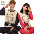 GOPLUS New Autumn Long-sleeve Cartoon Lovers Home Clothing Couples Matching Pajamas Adult  Pajamas 2 Piece Sets Lovers Sleepwear