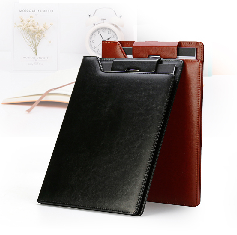 High Quality A4 PU Leather File Folder Writing Pad Paper Clip Padfolio Business Conference Folder For Office School Supplies