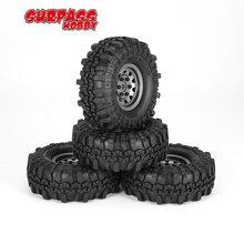 4Pcs 4020 1.9 Inch 110mm Rubber Tires Tire with Metal Wheel Rim Set for 1/10 Traxxas TRX-4 SCX10 RC4 D90 RC Crawler Car