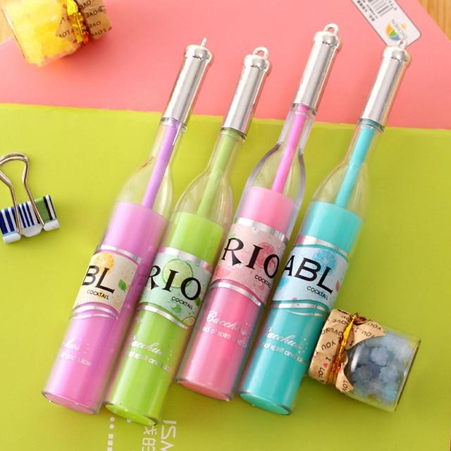 Meikeng New Arrival Creative R I O Winebottle Gel Pen Interesting Office Supplies School Stationery 12pcs Lot