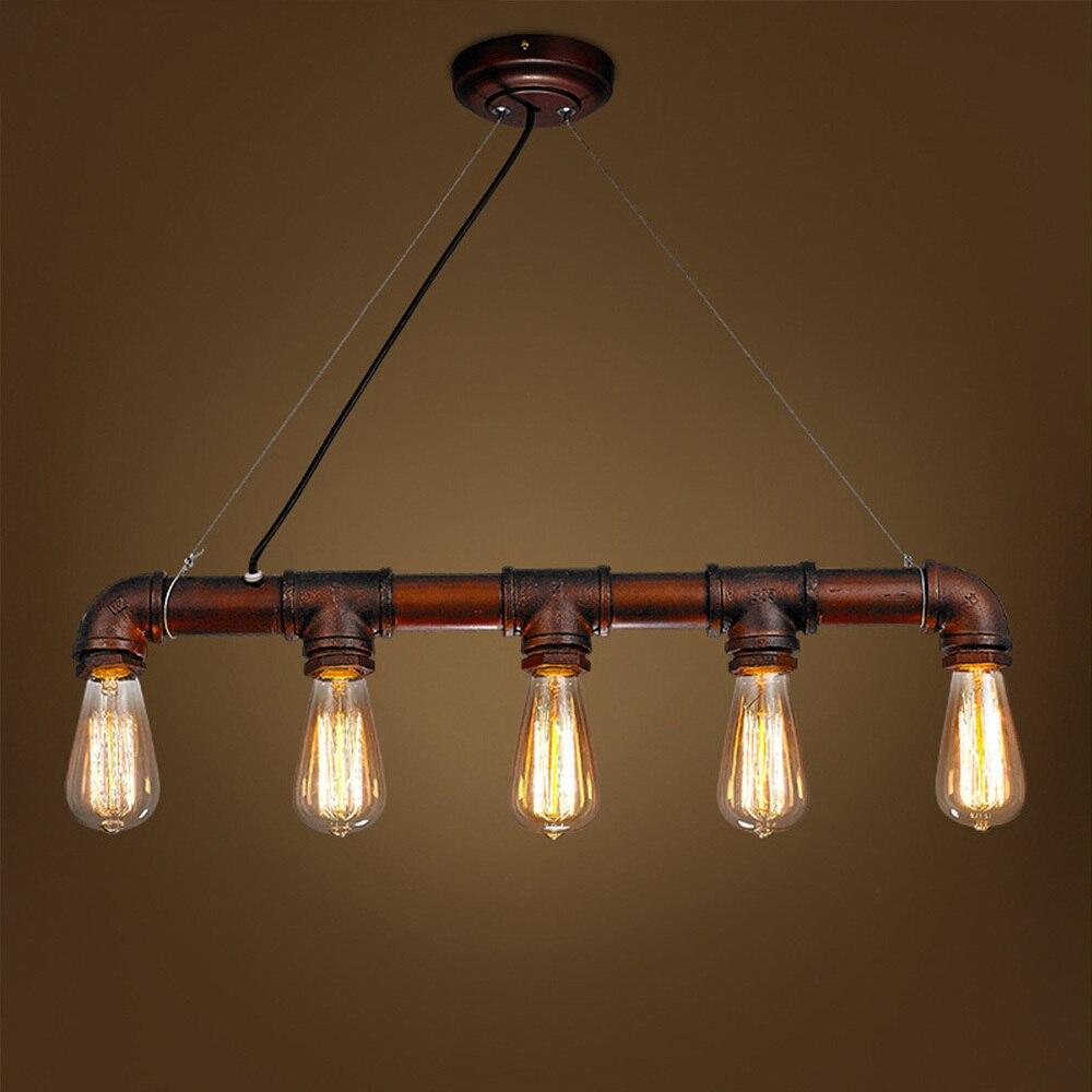 Nordic Retro Steampunk Water Iron Pipe Pendant Lamp E27 Chandelier Rustic Steampunk Edison Light Bulb Bar