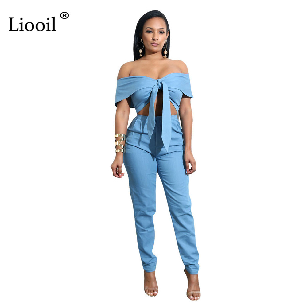 132defa83e9 Liooil Sexy Club Off Shoulder Lace Up Women Jumpsuit Long Pants Slash Neck  Short Sleeve Bodycon