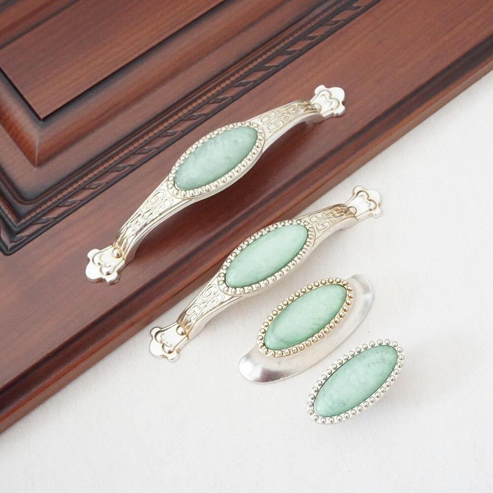 Antike Silber Dresser Drawer Pull Knöpfe Grün Porzellan ...