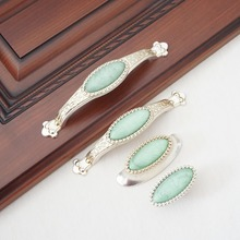 цена Antique Silver  Dresser Knob Drawer Pull Knobs Green  Porcelain Kitchen Cabinet Door Handle Furniture Hardware