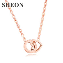 New Arrival Luxury Rose Gold Color Roman numerals heart shaped Stainless Steel pendant necklaces fashon Jewelry for women