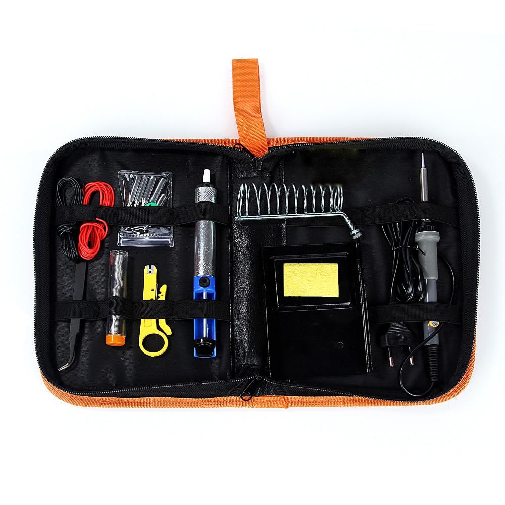 60 W/220 V Temperatura Regolabile Elettrico Saldatore Kit con Solding Punte di Saldatura Portatile Strumento di Riparazione Pinzette di Saldatura filo