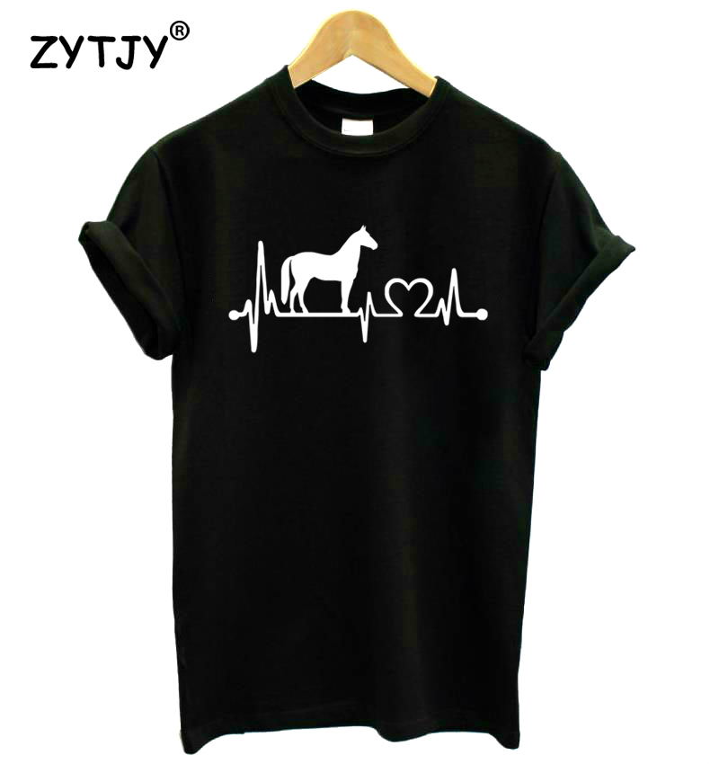 Horse heartbeat line Print Women Tshirt Cotton Casual Funny   t     Shirt   For Lady Girl Top Tee Hipster Tumblr Drop Ship HH-102