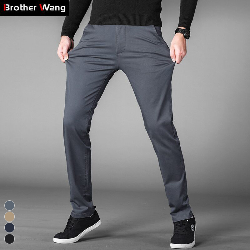 Brother Wang 4 Colors Summer Thin Casual Pants Men 2019 Business Cotton Slim Fit