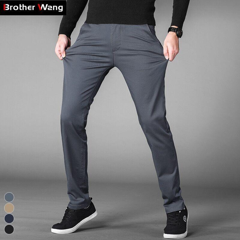 4 Colors Casual Pants Men Classic Style 2020 New Business Elastic Cotton Slim Fit Trousers Male Gray Khaki Plus Size 42 44 46