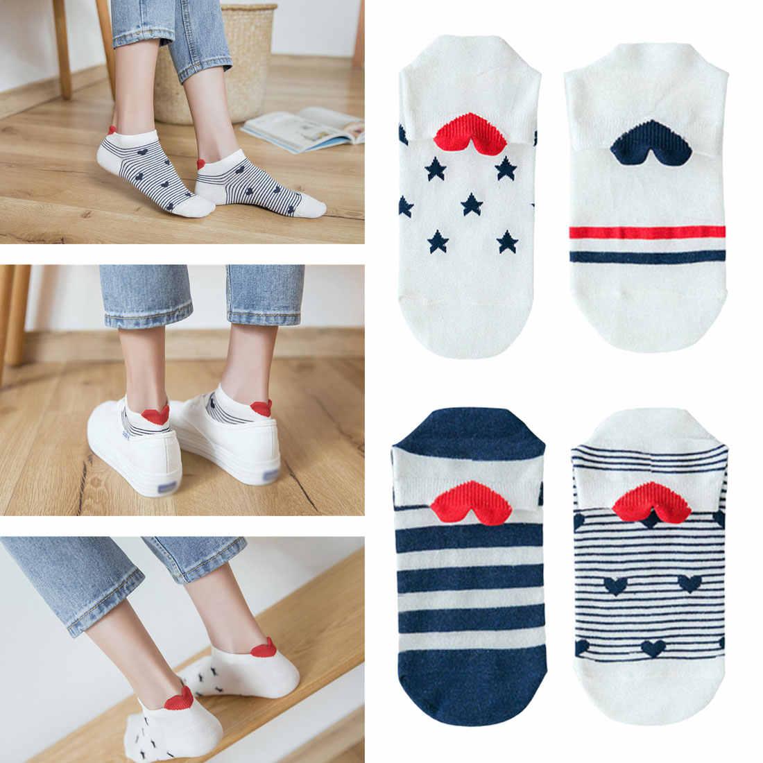 Chaussettes femme chaud coton printemps eté Harajuku Sox fille chaussettes 1 paires femmes chaussettes rouge coeur mignon collège vent Simple basique drôle