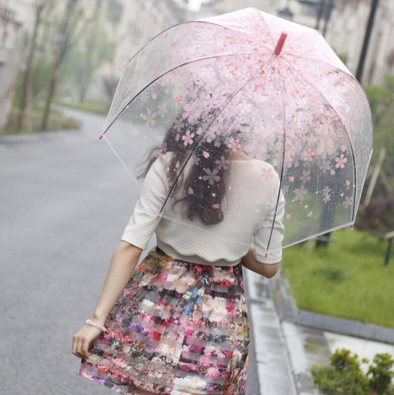 10708bddcfa New Fashion Transparent Clear Umbrella Cherry Blossom Mushroom Apollo  Princess Women Rain Umbrella Sakura Long Handle ...