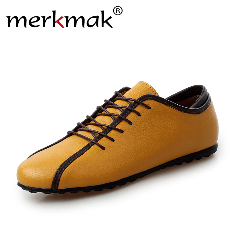 Merkmak Men Shoes Soft Genuine Leather Casual Shoes Brand Designer Men's Flats Comfortable Handmade Mens Loafers Driving Shoes handmade genuine leather men s flats casual haap sun brand men loafers comfortable soft driving shoes slip on leather moccasins