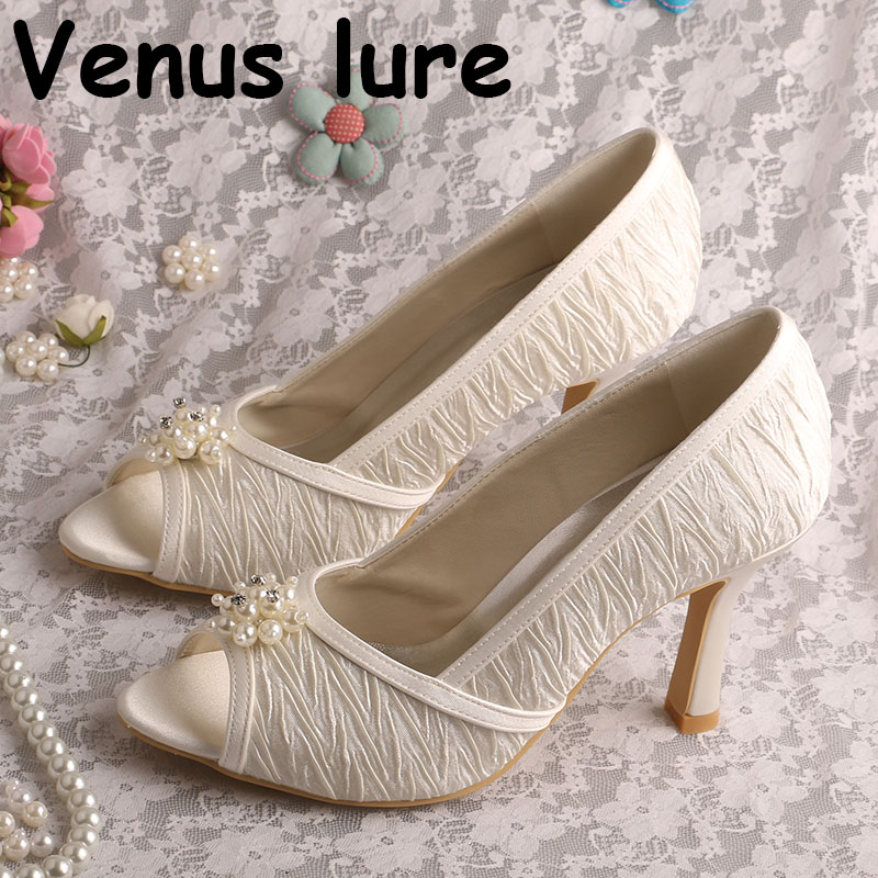 Top Selling Court Shoes Womens High Heel Open Toe Bridal Pumps with Pearl