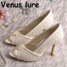 Top Selling Court Shoes Womens High Heel Open Toe Bridal Pum