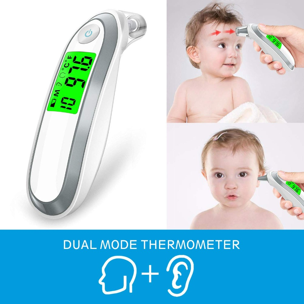 Ear and Forehead Thermometer Digital Medical Infrared Thermometer with 3 Fever Indicators Convert Suitable for Infant Baby Child