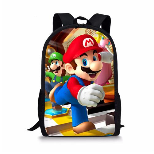 Super Children School Backpack Primary Student Anime Mario Bros Print Casual High Quality Schoolbag Kids Satchel