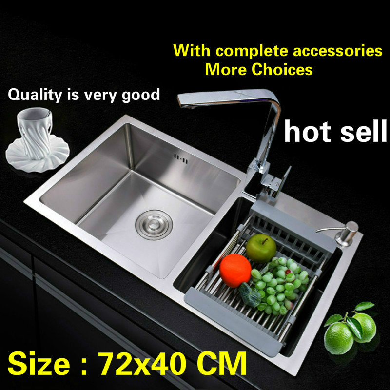 Free shipping 304 stainless steel kitchen sink thick dishwashing ordinary double groove 72x40 CMFree shipping 304 stainless steel kitchen sink thick dishwashing ordinary double groove 72x40 CM