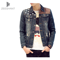 Plus Size M 5XL Brand Clothing Men Stars Flag Printed Jacket Denim 2016 Fashion Autumn Spring