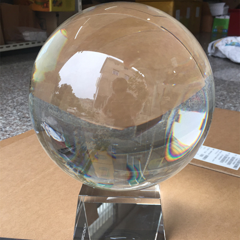 Clear 20cm/200mm K9 Rare Natural Crystal Ball Magic Sphere Fengshui Glass Good Luck Healing Ball Paperweight For Home Decor