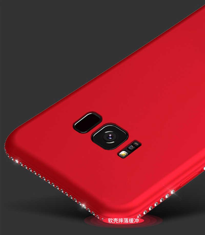 Mewah Rhinestone Soft Case untuk Samsung Galaxy S7 Edge S8 S9 Plus Note 8 Silikon Berlian Ponsel Penutup Belakang casing