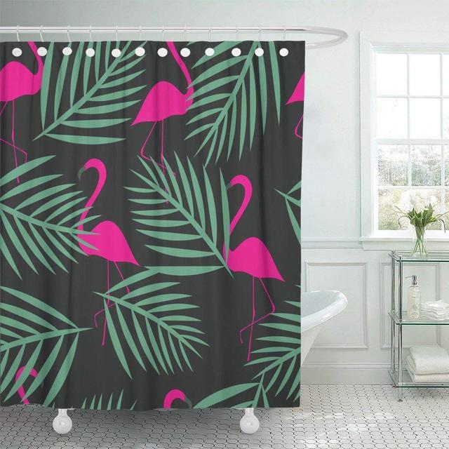 Shower Curtain Blue Cute Flamingo Patterns Orange Animals Beautiful Beauty Bird Color Drawing Elegance Bathroom Decor