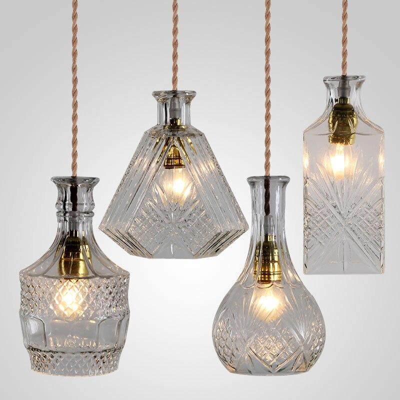 Garrafa de vidro do vintage luz pingente clássico decanter garrafa luminária art decoração para sala de jantar lâmpadas de preços por atacado
