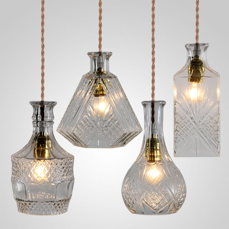 vintage glass bottle pendant light classic bottle pendant lamp art decoration for dinning room  decanter lamps wholesale price